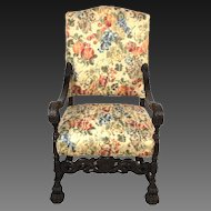 Antique Heavily Carved Gothic Great Hall Chair or Throne Chair