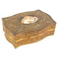 French Bronze Box Porcelain Miniature Portrait Long-Hair Beauty Coomans Sougeuse