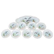 Antique Austrian Porcelain Fish Service Set Serving Platter 9 Individual Plates