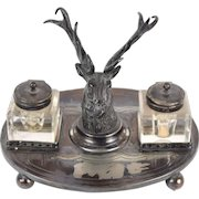 Antique English Elk Stag Head Silverplate Inkwell Inkstand Wheatcroft Harrison