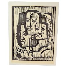 "Mid-Century Modern Woodblock Print Abstracted Faces ""Family"""
