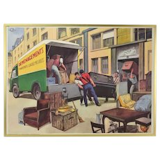 Vintage 1950's French Occupational Poster Furniture Piano Movers