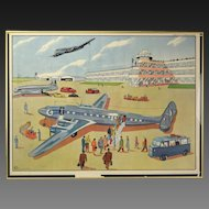 Vintage 1950's French Occupational Poster Airport Workers Air France