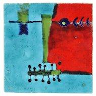 """Mid-Century Modern Abstract Pottery Tile """"Musician"""" Ursula Schneider Atelier Rabiusla"""