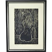 "Mid-Century Woodblock Print Nude Girl ""Sitting in the Rain"" signed Horwich"