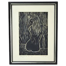 """Mid-Century Woodblock Print Nude Girl """"Sitting in the Rain"""" signed Horwich"""