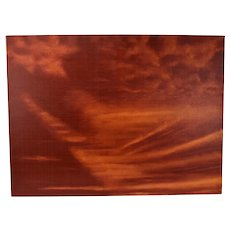 Abstract Red Sky at Dusk Cloud Painting Skyscape by Chicago Artist Kopala #5