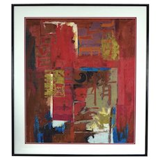 1997 Abstract Painting with Symbols and Calligraphy Yi Kai Chinese American