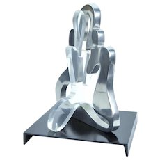 Vintage Mid-Century Modern Abstract Stainless Steel & Lucite Sculpture