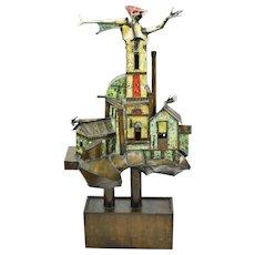 1972 Surrealist Bronze Painted Metal Sculpture House Emerging Creature  Clyde Ball