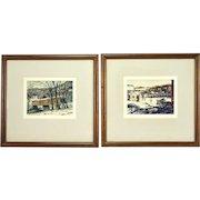 Pair 1950's Louis Kaep Watercolor Paintings Covered Bridge Hillsides Vermont