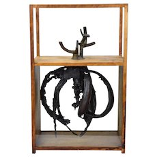 Vintage Mid-Century Modern Abstract Wood Bronze Sculpture Bruce Paul Fink