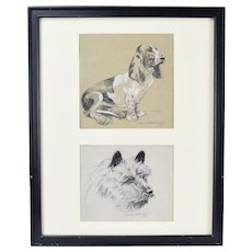 Frame pair of 1930's Charcoal Drawings Basset Hound and Terrier Dogs signed
