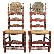 Pair 19th Century Spanish Colonial Style Chairs with Carved Backs