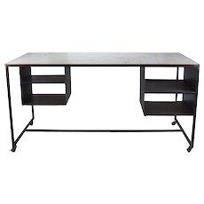 Vintage Industrial Steel Rolling Worktable Standing Desk with Storage Cubbies #2