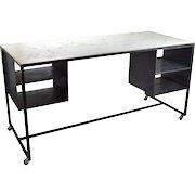 Vintage Industrial Steel Rolling Worktable Standing Desk with Storage Cubbies #1