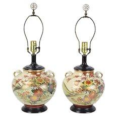 Vintage Pair Japanese Satsuma Pottery Ginger Jar Table Lamps
