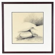 Vintage Pencil Drawing Nude Woman Hips and Legs signed Grace Cole