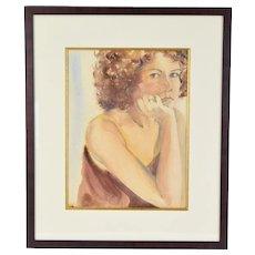 Vintage Watercolor Portrait Of Curly Redhead Woman signed Karen Hoyt