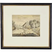 19th Century Watercolor Painting Rural Village Scene Workers Toiling