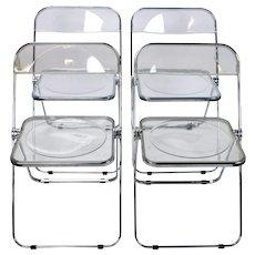 Set 4 Plia Castelli Italian Mid-century Modern Lucite Folding Chairs