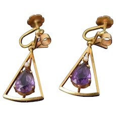 Vintage Modern Pair 18k Gold Geometric Earrings Teardrop Amethyst Seed Pearl