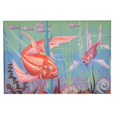 Vintage 1940's Lars Birger Sponberg Art Deco Fish Painting