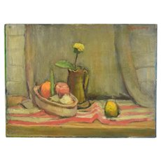 Circa 1950's Lars Birger Sponberg Oil Painting Still Life w Fruit Flowers