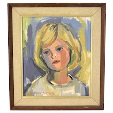 Vintage 1960's Lars Birger Sponberg Oil Painting Portrait Blonde Girl