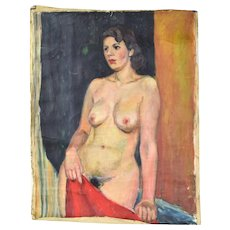 Vintage 1950s Lars Birger Sponberg Oil Painting Portrait Nude Woman