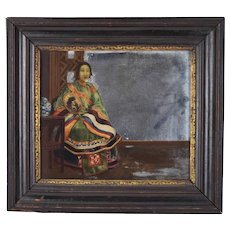 Antique Chinese Export Reverse Painted Mirror Woman in Robes with Fan