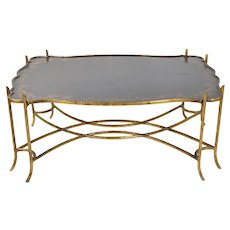 Vintage Gilded Iron Faux Bois Twig Coffee Table w Tole Painted Tray Style Top