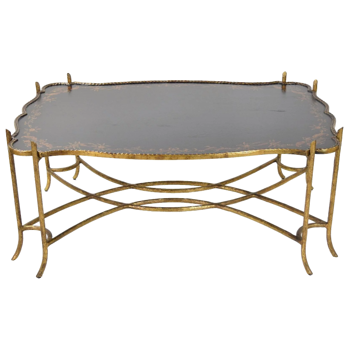Awesome Vintage Gilded Iron Faux Bois Twig Coffee Table W Tole Painted Tray Style Top Ncnpc Chair Design For Home Ncnpcorg