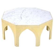 Vintage Mid-Century Modern Octagonal Gothic Marble Top Coffee Cocktail Table