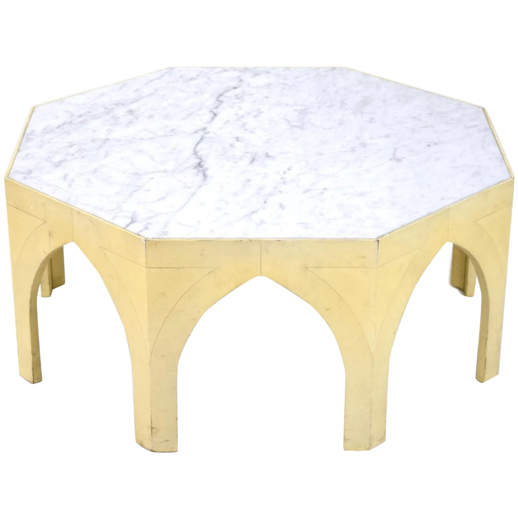 Vintage Mid Century Modern Octagonal Gothic Marble Top Coffee