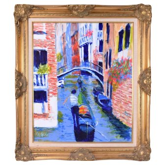 Vintage Bill Olendorf Colorful Oil Painting Venice Canal Scene w Gondolier