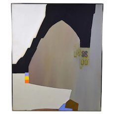 "1980 Mid-Century Modern Abstract Painting ""Macometanorum Templum"" Goldstrom"