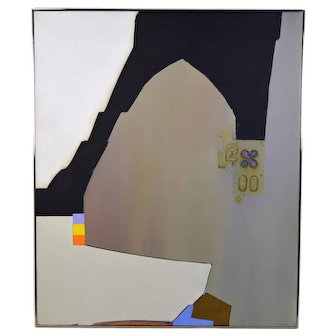 "1970 Mid-Century Modern Abstract Painting ""Macometanorum Templum"" Goldstrom"