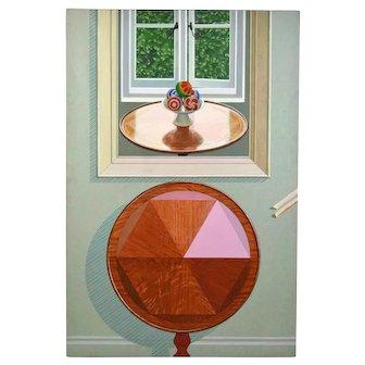 """1972 Mark Wickham Painting """"Table"""" Playful trompe l oeil Surrealist Puzzle"""