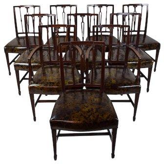19th C. Set 10 Neo-Classical Sheraton Mahogany Dining Chairs Possibly Boston