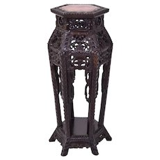 Antique Chinese Export Carved Rosewood w Marble Stand
