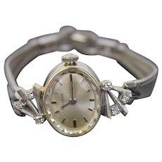 Vintage Mid-Century Modern 14k Solid White Gold & Diamond Bulova Wrist Watch