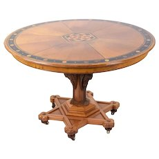Renaissance Gothic Revival Inlaid Stenciled Round Table Carved Figural Storks
