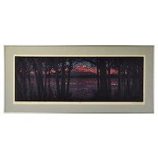 Vintage Mid-Century Modern Screenprint Landscape of Quetico Park Lake Landscape