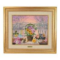 """Jacqueline Chuteau """"La Cadeaux"""" Floral Still Life Painting w Bird French artist"""