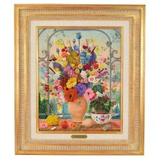 Jacqueline Chuteau Still Life Painting Riot of Flowers in Vase w Bird French artist