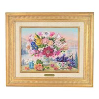 Jacqueline Chuteau Floral Still Life Painting w Grapes French artist