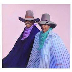 "1988 James Darum ""Kow Pokes"" Stylized Cowboy Painting Southwest Artist"