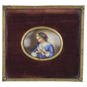19th Century Miniature Portrait on Porcelain Young Woman with White Dove
