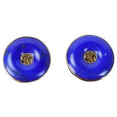 Vintage 14k Solid Yellow Gold w Lapis Lazuli Donut Discs & Good Luck Character